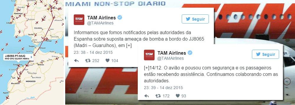 Voo JJ8065,que seguia para São Paulo,saiu às 20h37 dessa segunda-feira (14)e regressou a Madri ao receber a informação sobre a ameaça de bomba, quando sobrevoava o Marrocos