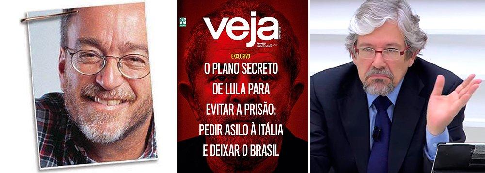 """""""André Petry, o novo diretor, já disputa com o antecessor Eurípides Alcântara o posto de pior editor da Veja em seus quase 50 anos. Sua primeira capa foi repulsiva: o rosto de Lula transfigurado em jararacas como se fosse uma medusa"""", diz Paulo Nogueira, editor do DCM e ex-diretor da Abril; """"Mas como nada que é ruim não pode piorar a segunda desceu ainda mais degraus na escala do jornalismo bandido que se tornou a marca da Veja: um mirabolante plano secreto segundo o qual Lula iria refugiar-se dos perseguidores na Itália"""""""