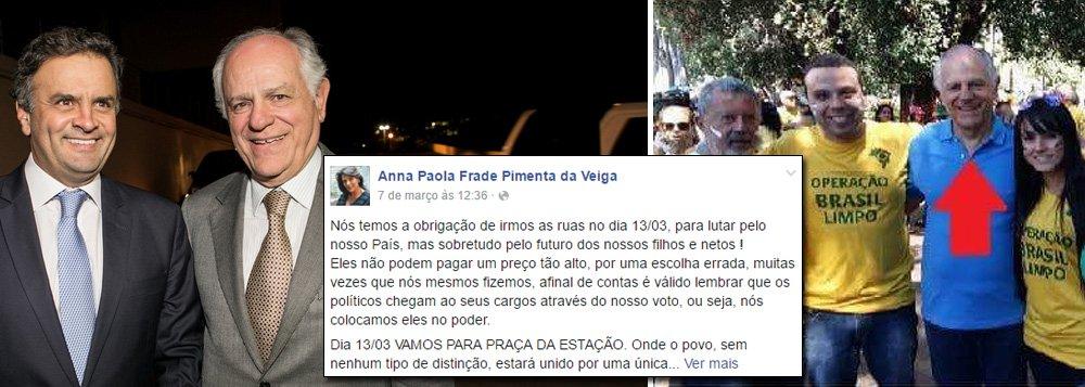 """A Justiça Federal aceitou denúncia por lavagem de dinheiro contra Pimenta da Veiga, um dos fundadores do PSDB em Minas Gerais e ex-candidato ao Palácio da Liberdade; em 2003, quando exercia mandato de deputado federal, ele teria recebido recursos de origem não comprovada repassados por agências de publicidade do empresário Marcos Valério; no dia 7 de março, sua esposa Anna Paola usou as redes sociais para convocar manifestações em protesto contra a corrupção;""""Nós temos a obrigação de irmos às ruas no dia 13 para lutar pelo nosso País, mas sobretudo pelo futuro dos nossos filhos e netos"""", disse ela; Pimenta já foi também tesoureiro de campanhas presidenciais do PSDB, cuidando da arrecadação tucana em Minas para FHC e José Serra"""