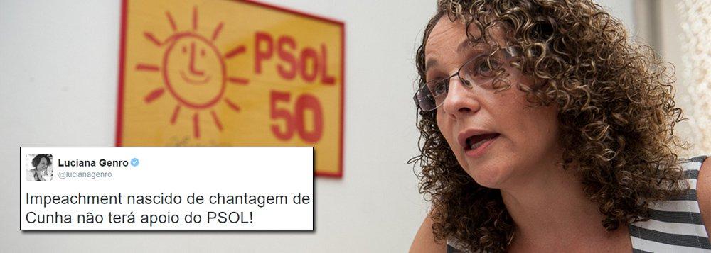 """Líder do PSOL e quarta colocada nas eleições presidenciais de 2014, Luciana Genro, criticou a tentativa de ruptura democrática perpetrada pelo presidente da Câmara (PMDB), ao aceitar o pedido de impeachment da presidente Dilma Rousseff; em sua conta no Twitter, Luciana Genro reforçou que a medida de Eduardo Cunha, com apoio de líderes da oposição como o senador Aécio Neves (PSDB), é retaliação política e """"chantagem""""; """"Impeachment nascido de chantagem de Cunha não terá apoio do PSOL!"""", afirmou"""