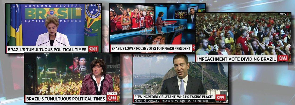 """Longa reportagem da CNN denuncia o avanço do golpe no Brasil; em matéria sobre a votação do pedido de impeachment da presidente Dilma Rousseff na Câmara, a jornalista norte-americana Christiane Amanpour fala em """"meios anti-democráticos"""" para impedir o mandato de Dilma; o jornalista Glenn Greenwald fala sobre o caso no programa"""