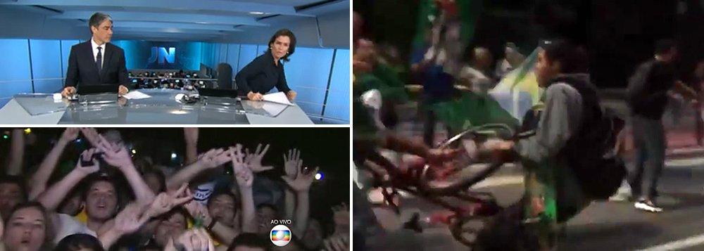 """Concessionária de serviço público, a Globo usou seus telejornais para incitar a população a ir às ruas para tentar derrubar a presidente Dilma Rousseff na noite de ontem; Globo foi também a primeira a receber o grampo ilegal contra a presidente Dilma Rousseff divulgado pelo juiz Sergio Moro; nos conflitos registrados ontem, ciclistas e um casal foram agredidos porque tinham a aparência de petistas; """"Era isso que queria a Globo coma divulgação de vazamentos sem apuração e a cobertura de protestos com todos os links e câmeras dando palcopara animais raivosos em bandos?"""", questiona o jornalista Kiko Nogueira, diretor do DCM; movimentos sociais devem ir às ruas em defesa da democracia e há risco de confrontos nas ruas"""
