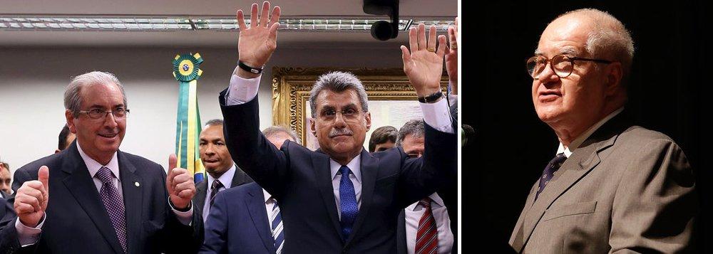 'É necessário reconhecer que a cena do deputado Eduardo Cunha e do senador Romero Jucá de mãos dadas e braços erguidos comemorando o rompimento do PMDB com o Planalto mostra para onde vão os interesses de uma banda da oligarquia. Cunha é réu no STF e Jucá está sendo investigado pelo MP. Se houvesse qualquer referência ao combate à corrupção no seu discurso de posse presuntiva, Temer mostraria coragem e disposição de incomodar correligionários. Esqueceu-se, tudo bem, mas não deve pedir aos ouvintes que não percebam', disse o colunista Elio Gaspari