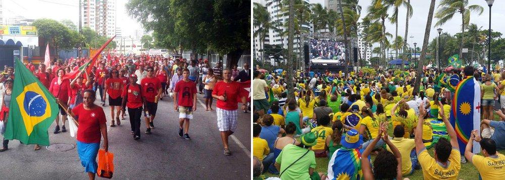 No momento em que o voto decisivo para o prosseguimento do impeachment foi dado na Câmara dos Deputados, justamente por um deputado pernambucano, os ânimos nas manifestações no Recife foram a extremos: enquanto as pessoas contrárias ao afastamento da presidenta Dilma Rousseff (PT) choravam e demonstravam indignação, no ato favorável ao processo a multidão festejava com euforia; uma briga foi registrada no Marco Zero, ponto central do Recife