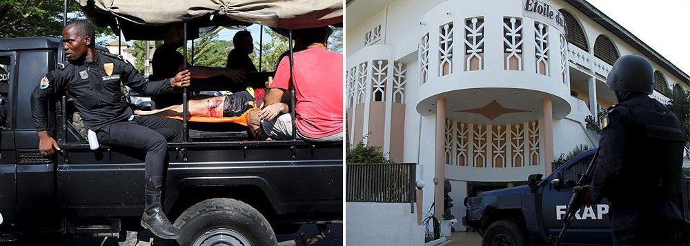 """Ataque a um hotel de Grand-Bassam, a oeste de Abidjan, principal cidade da Costa do Marfim, resultou em 22 pessoas mortas;""""O balanço é pesado, os terroristas conseguiram matar 14 civis e nós perdemos dois membros das forças especiais"""", declarou o presidente da Costa do MarfimAlassane Ouattara; organização terrorista Al Qaeda no Magrebe islâmico reivindicou o ataque à estância balneária"""