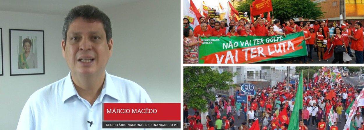 """Em vídeo publicado nas redes sociais, nesta quinta (14), o ex-deputado federal Márcio Macêdo, atual secretário nacional de Finanças do PT, convida os sergipanos a participarem do ato em defesa da democracia, que ocorrerá na Orla da Atalaia, em Aracaju (SE), no próximo domingo (17), dia no qual será votado processo de impeachment da presidente Dilma Rousseff na Câmara Federal;""""Domingo é um dia decisivo para o Brasil. Os deputados vão decidir se irão respeitar a democracia ou se vão rasgar a Constituição com um golpe de estado. Impeachment sem crime de responsabilidade é golpe"""", afirma"""