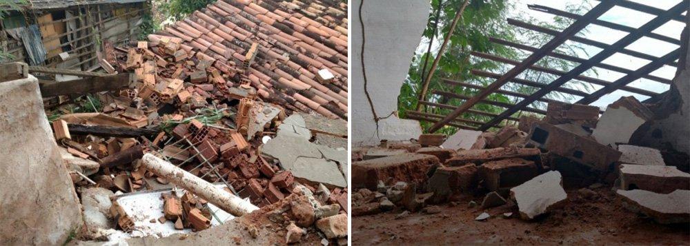 Uma casa desabou, no início da tarde desta terça-feira (29), no bairro do Mutange, em Maceió; não houve vítimas; segundo o Corpo de Bombeiros o desabamento ocorreu devido às chuvas que caem na capital; técnicos da Defesa Civil estadual também estiveram no local, verificando a situação das residências vizinhas