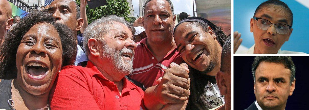 Pesquisa Vox Populi, encomendada pela Central Única dos Trabalhadores (CUT) revela que o ex-presidente Lula (PT) chega a liderar com 31% as intenções de voto para presidente do país; neste cenário, Marina tem 23% e Aécio tem 20%; entre dezembro de 2015 e março deste ano, o tucano caiu 11 pontos; em outro quadro, Lula tem 29%, Marina tem 18%, Aécio tem 17%, Jair Bolsonaro tem 7% e Ciro Gomes tem 5%; a sondagem foi feita entre os dias 9 e 12 de abril deste ano, com brasileiros com idade superior a 16 anos, residente em todos os estados brasileiros (exceto Roraima) e no Distrito Federal; pesquisa revela força do ex-presidente mesmo ele sendo muito bombardeado pela imprensa e pela oposição