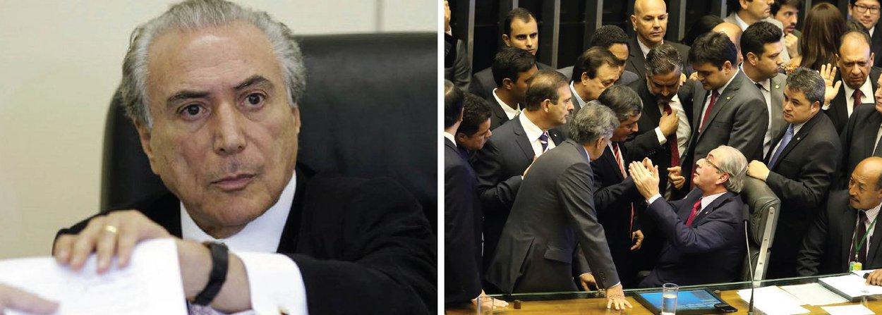 """Ao comentar a vitória da chapa 2, formada na maioria por deputados da oposição e defensores do golpe, para compor a comissão especial que vai analisar o pedido de impeachment da presidente Dilma Rousseff, nesta terça-feira na Câmara, o vice-presidente Michel Temer disse que o Brasil vive em um """"regime de uma normalidade democrática extraordinária"""" e que as instituições """"estão funcionando""""; segundo ele,a Câmara dos Deputados, presidida por Eduardo Cunha, que comandou as manobras, """"tomou ontem uma deliberação no exercício legítimo da sua competência"""""""