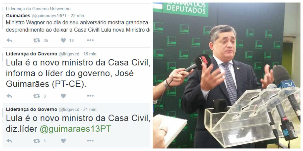 O anúncio de que o ex-presidente Lula é o novo ministro da Casa Civil foi feito pelas redes sociais e em seguida confirmado peloagora ex-ministro Jaques Wagner e pelo líder o PT na Câmara, Afonso Florence