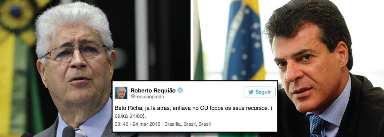 """O senador Roberto Requião (PMDB-PR), pelo Twitter, indignado com o vazamento seletivo de denúncias, decidiu revelar o local 'onde' o governador do Paraná, Beto Richa (PSDB), costuma enfiar todos os recursos; """"Beto Richa, ja lá atrás, enfiava no CU todos os seus recursos. ( caixa único)"""", disse ele no Twitter; o nome Beto Richa aparece anotado na planilha de propinas da Odebrecht, apreendida pela Polícia Federal, onde está registrado R$ 200 mil para a campanha eleitoral de 2010"""