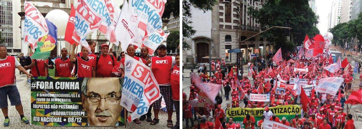 Trabalhadores e sindicalistas ligados às centrais sindicais e representantes de movimentos sociais realizam manifestação no centro do Rio em protesto contra a tentativa de impeachment da presidente Dilma; o presidente nacional da CUT, Valter Freitas, disse que o objetivo principal da manifestação era repudiar o que ele classificou como golpe
