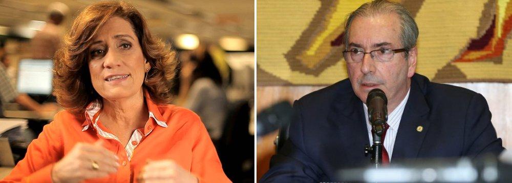 """""""O presidente da Câmara, diante dos olhos da Nação, está interferindo há seis meses nos trabalhos do Conselho de Ética que tenta julgá-lo. E não há nada que se possa fazer. Enquanto durar o afastamento da presidente Dilma, o país terá um presidente com o qual nada poderá acontecer, do contrário teremos que viver o inadmissível que é ter Eduardo Cunha na Presidência"""", diz a colunista Miriam Leitão"""