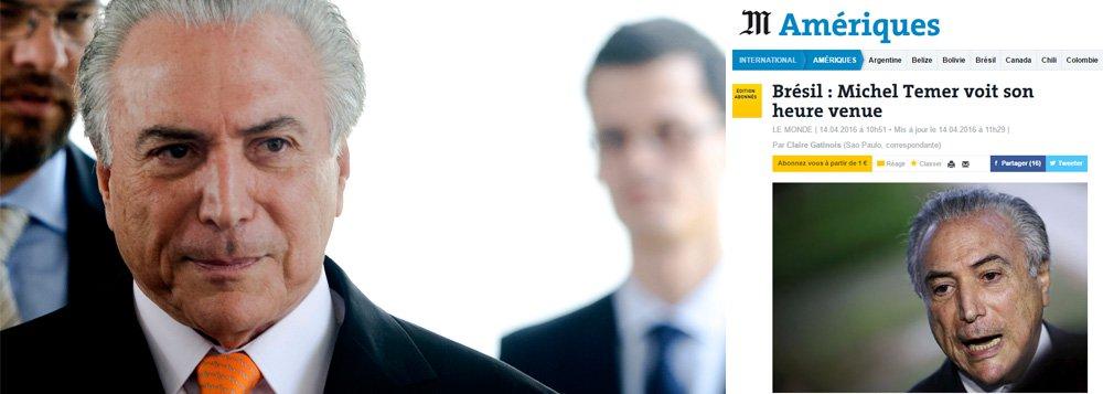 """Jornal francês define o vice-presidente da República, Michel Temer (PMDB), como um """"homem dos bastidores"""" e um """"profissional da política e das intrigas parlamentares"""", que pode se tornar o presidente do Brasil em caso de impeachment, apesar de não ter 3% das intenções de voto; Le Monde destaca, ainda, que o presidente da Câmara, Eduardo Cunha, quer transformar a votação deste domingo em um espetáculo midiático, transmitido pela Rede Globo, de maneira a pressionar os parlamentares a votar pelo afastamento da presidente Dilma"""