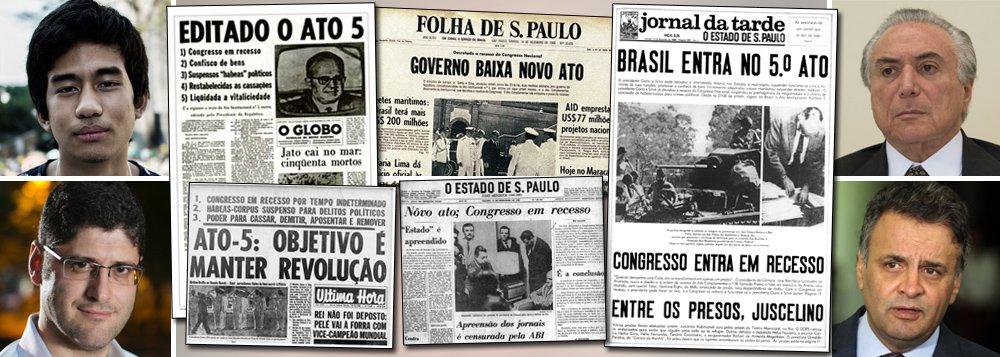 """Neste domingo, data que marca o aniversário do AI-5, ato institucional baixado pelos militares que endureceu a ditadura, os movimentos Vem pra Rua e Movimento Brasil Livre, comandados por Kim Kataguiri e Rogério Chequer, colocam suas tropas nas avendas para tentar engrossar o movimento pelo impeachment da presidente Dilma Rousseff; caso seja bem-sucedido, o golpe contra a democracia, estimulado pelo senador Aécio Neves (PSDB-MG), levará ao poder o vice-presidente Michel Temer, do PMDB, cujo plano de governo se concentra na sua """"ponte para o futuro""""; documento reduz gastos sociais obrigatórios, em áreas como saúde e educação, amplia idade mínima para aposentadoria e limita os reajustes do salário mínimo"""