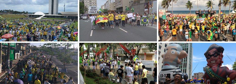 De acordo com o instituto, 40,3 mil pessoas foram às ruas pelo impeachment em São Paulo, neste domingo; número representa uma queda de 70,2% em relação aos 135 mil de agosto passado; em Brasília, a queda foi ainda mais acentuada: 72%; em Curitiba, o recuo foi de 84%; no Rio de Janeiro, de 95%; reação da sociedade organizada à tentativa de golpe capitaneada pelo PSDB e pelo deputado Eduardo Cunha (PMDB-RJ), investigado por corrupção e lavagem de dinheiro, pesou nos números; sem povo nas ruas, o impeachment da presidente Dilma Rousseff tende a naufragar