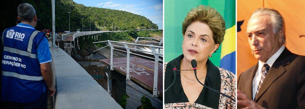 """Presidente da República em exercício, Michel Temer, disse que se solidariza com os familiares das pessoas que morreram na queda de uma ciclovia no Rio de Janeiro; no áudio, divulgado em sua página pessoal no twitter, Temer afirmou esperar que as apurações sejam feitas e que possam detectar os """"eventuais equívocos que geraram esse lamentável acidente"""", mais cedo, a presidente Dilma Rousseff havia expressado solidariedade aos familiares das vítimas e aos feridos na tragédia"""