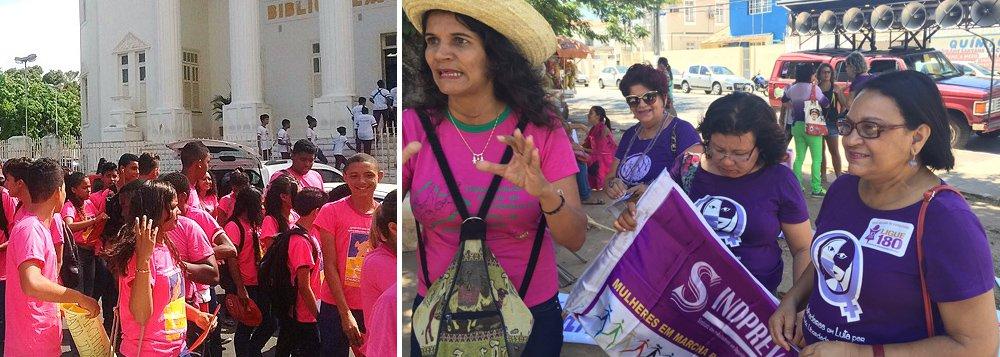 No Dia Mundial de Combate à Violência contra a Mulher, um grupo se organizou e saiu em caminhada pelas ruas do Centro, em Maceió, na chamada Marcha das Mulheres; com bandeiras e faixasos manifestantescobrarampolíticas públicas e ações para evitar os ataques sofridos pelas mulheres; com 102 municípios, Alagoas possui apenas três delegacias especializadas, sendo duas na capital