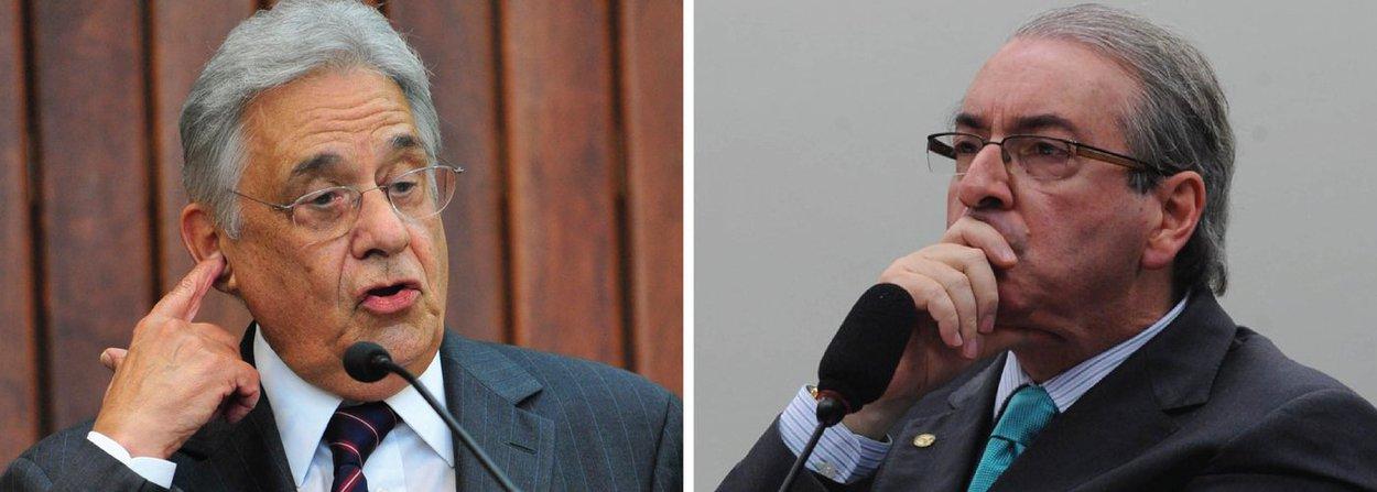 """Após uma vergonhosa aliança fechada entre o PSDB e o deputado Eduardo Cunha (PMDB), que inviabilizou o Brasil nos últimos dois anos e levou o pais à beira de um golpe que causa espanto em todo o mundo civilizado, o que está estampado nas manchetes dos jornais New York Times e El País desta sexta (15), o ex-presidente Fernando Henrique Cardoso defende agora que o seu partido apoie a cassação de Cunha; """"O PSDB tem de agir de acordo com o que foi descoberto pela polícia, pelo procurador e que a Justiça está encaminhando. Não tem de tergiversar. Havendo erro, tem de cassar. Até agora, o que tem aparecido é que tem muitos elementos consistentes. O PSDB deve apoiar a cassação"""", disse; apesar disso, FHC, um dos ideólogos do golpe contra Dilma, ainda defende o impeachment"""