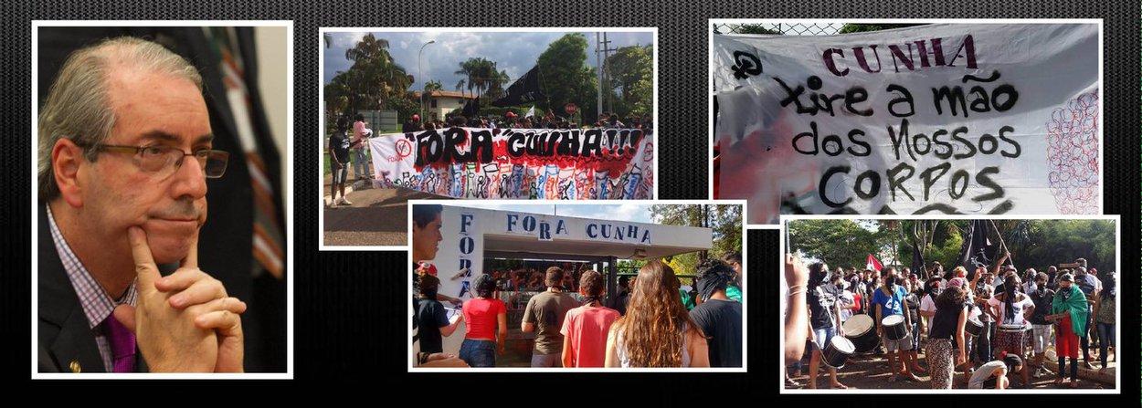 """Cerca de 400 jovens fizeram um 'escracho' nesta segunda-feira 2 em frente à casa do presidente da Câmara, Eduardo Cunha (PMDB), em Brasília; o grupo, articulado principalmente pelo movimento Levante, defendeu o afastamento de Cunha do cargo diante de denúncias de corrupção envolvendo seu nome e protestou contra a agenda conservadora da Casa, onde estão sendo aprovados projetos que tiram direitos das mulheres, prejudicam indígenas e a classe trabalhadora; Janderson Barros, do coletivo de juventude do MST no DF, disse que """"as pautas conservadoras do Congresso retiram direitos fundamentais do povo brasileiro, por isso a necessidade de uma reforma política""""; Laura Lyrio, da coordenação do Levante, convidou a juventude a protestar contra """"o retrocesso brasileiro"""""""