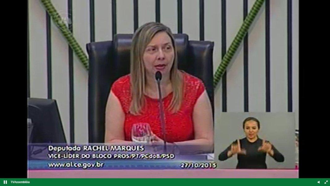 Na manhã de hoje (27) a Assembleia realizou sessão especial para prestar homenagem a personalidades e instituições que se destacam no trabalho de prevenção ao câncer de mama, como parte das atividades comemorativas do Outubro Rosa. A sessão foi presidida pela deputada Rachel Marques (PT) e contou com a presença das deputadas Augusta Brito, Silvana Oliveira e Fernanda Pessoa