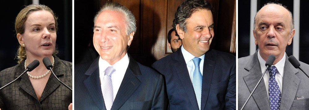 """Em discurso no plenário nesta semana, a senadora Gleisi Hoffmann (PT-PR) apontou o que seria um """"acordão"""" entre PSDB e PMDB para que, com a saída da presidente Dilma Rousseff, """"já haver um governo montado e as coisas pararem por aí, sem mais revanches, e o País tornar à situação de normalidade""""; """"Qual normalidade? A normalidade de parar as investigações?"""", questionou Gleisi; segundo o jornalista Rodrigo Vianna, o senador Aécio Neves (PSDB-MG), ameaçado na Lava Jato, """"tenta derrubar Dilma porque Michel Temer prometeu frear investigação""""; senador José Serra (PSDB-SP) também declarou, no início da semana, que Temer prometeu não fazer caça às bruxas em um eventual governo; nesta terça, Aécio e Temer se reuniram em São Paulo para discutir o futuro"""