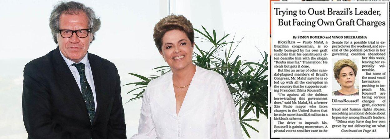 """Durante encontro com a presidente Dilma Rousseff nesta sexta-feira, o secretário-geral da Organização dos Estados Americanos, Luis Almagro,se manifestou contra o impeachment alegando """"falta de certeza jurídica para as acusações"""" e inconsistência no pedido; """"Do ponto de vista ético, encontramos algo que nos chama profundamente a atenção. Aqui temos uma pessoa que não tem nenhuma acusação, imputação, julgamento, e encontramos entre os que vão julgar imputados, indagados, julgados"""", disse;nesta manhã, reportagem do The New York Times, maior jornal do mundo, também apontou que Dilma, honesta, está sendo julgada por criminosos como Eduardo Cunha, que, nesta sexta-feira, foi denunciado por mais um delator, que o acusou de receber propina de R$ 52 milhões em 36 parcelas"""