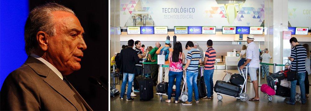 """Dentre os sete maiores mercados aéreos do mundo, o Brasil foi o único país a registrar queda no número de passageiros domésticos em 2016, segundo dados da Associação Internacional de Transporte Aéreo (Iata); """"Viagens aéreas domésticas do Brasil foram as únicas a mostrar uma queda em 2016, refletindo a situação econômica do país"""", pontuou a Iata em um relatório sobre o setor; entidade destacou, ainda, que a queda ao longo do exercício passado foi de 5,5%, graças ao agravamento da recessão pós-golpe parlamentar que levou Michel Temer ao poder; média mundial, contudo, registrou um crescimento de 5,7% nas viagens domésticas"""