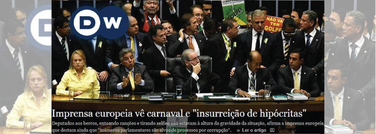 """""""Por óbvio, ainda esta madrugada, o Brasil virou uma piada vergonhosa na imprensa internacional, com o dantesco espetáculo promovido ontem pela mediocridade hipócrita dos golpistas"""", diz o jornalista Fernando Brito, do Tijolaço; numa análise assinada intitulada """"A insurreição dos hipócritas"""", o site da revista Der Spiegel afirma que o Congresso brasileiro mostrou sua """"verdadeira cara"""" e, com o uso de meios """"constitucionalmente questionáveis"""", colocou o """"avariado navio Brasil"""" numa """"robusta rota de direita"""""""