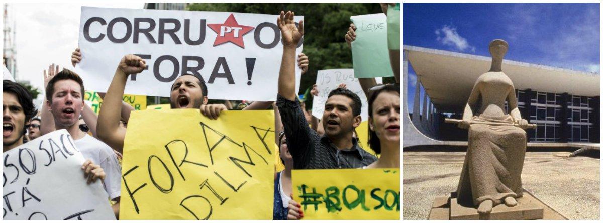 Movimentos pró-impeachment pretendem protestar em frente ao Supremo Tribunal Federal no dia 16, quando a corte se reúne para discutir o rito do processo no Congresso; manifestantes planejam intimidar o ministro Luiz Edson Fachin, que barrou o golpe de Eduardo Cunha nessa semana, ao passar em um telão um vídeo dele declarando apoio à presidente Dilma em 2014