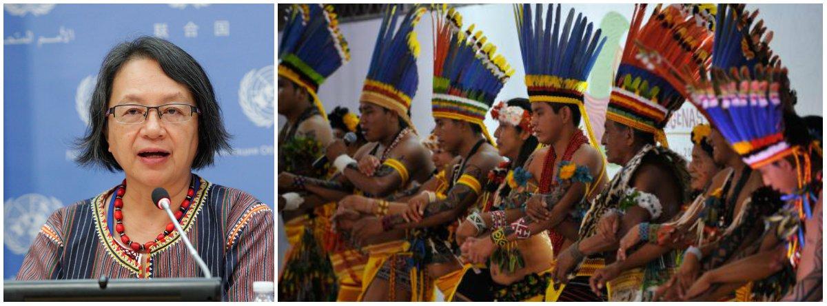 """A relatora especial da Organização das Nações Unidas (ONU) sobre direitos dos povos indígenas, Victoria Tauli-Corpuz, afirmou que o Brasil teve """"retrocessos extremamente preocupantes na proteção dos direitos dos povos indígenas"""" nos últimos oito anos; """"Uma tendência que continuará a se agravar caso não sejam tomadas medidas decisivas por parte do governo para revertê-la"""", informou Victoria no relato que fez ao fim de sua missão ao Brasil; entre as recomendações preliminares estão a proteção de lideranças indígenas e investigações sobre todos os assassinatos de indígenas, concluir demarcações de terras, revisão dos cortes no Orçamento e fortalecimento da Funai"""