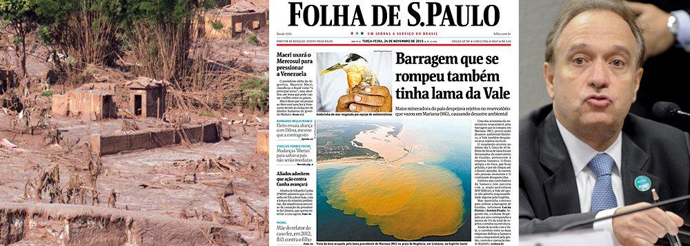 """Folha cita enfim a empresa comandada por Murilo Ferreira, na manchete desta terça-feira, como uma das responsáveis pelo rompimento da barragem em Mariana (Minas Gerais); """"Uma das acionistas (ao lado da anglo-australiana BHP Billiton) da Samarco, responsável pela barragem, a Vale utilizava a área para despejar rejeitos de minério de ferro de suas atividades na região"""", diz a reportagem"""