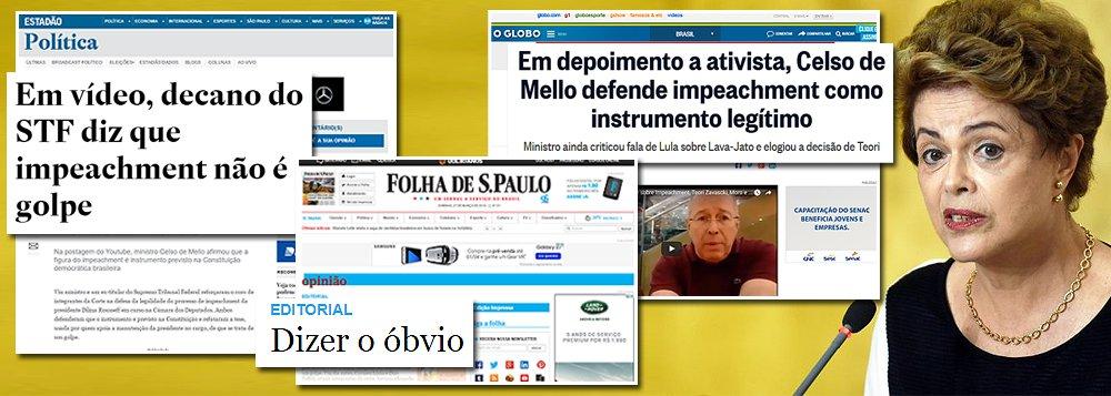 """Prioridade dos três principais jornais engajados no golpe de 2016, Folha, Globo e Estado, que também agiram de forma coordenada para promover o regime militar de 1964, é encontrar luminares que repitam uma obviedade: que, """"ao contrário do que a presidente Dilma Rousseff afirmou, impeachment não é golpe por estar previsto na Constituição""""; trata-se, mais uma vez, de uma tentativa rasteira de manipulação da opinião pública, uma vez que Dilma sempre disse que o impeachment é um instrumento previsto na Constituição; no entanto, ele apenas se torna legítimo quando os responsáveis pelo processo são capazes de apontar o crime de responsabilidade cometido pela presidência da República – o que nem as famílias Frias, Mesquita ou Marinho fizeram até agora"""