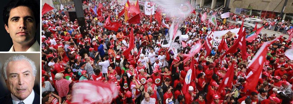 """Colunista Bernardo Mello Franco afirma que, em caso de impeachment, Michel Temer """"duelará com uma oposição aguerrida, liderada pelo PT e amplificada por sindicatos e movimentos sociais. Sua ação ostensiva para chegar ao poder aumentará o ressentimento dos derrotados""""; """"Mesmo que costure um acordão com o andar de cima, Temer precisará recorrer à polícia para conter os insatisfeitos"""", diz"""