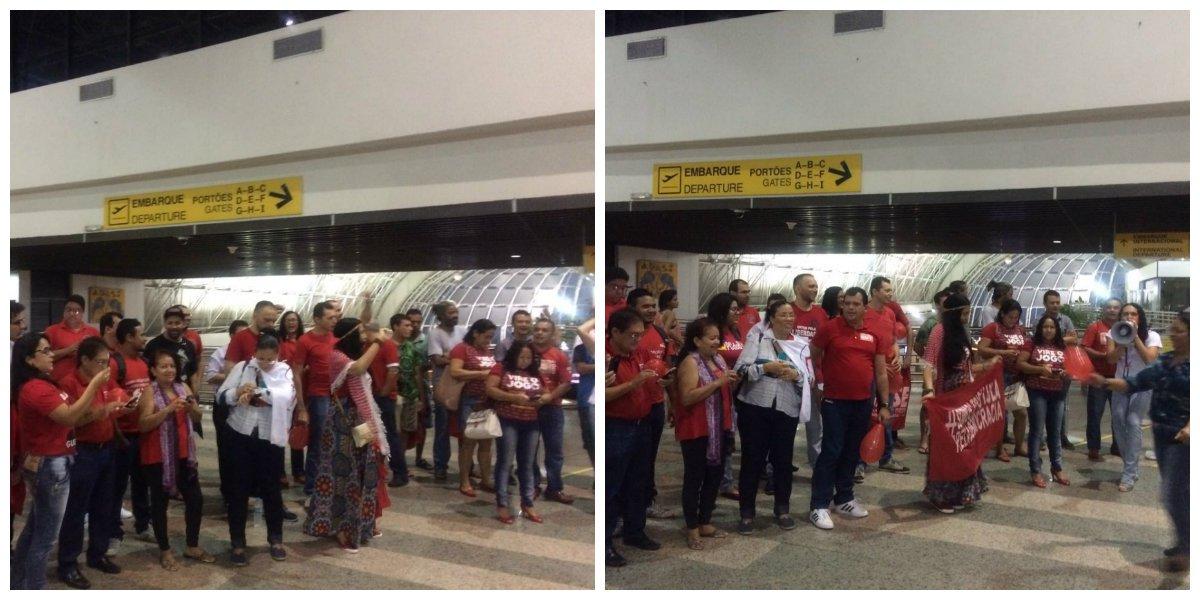 As atividades de mobilização dos movimentos sociais contra o golpe começaram hoje, desde as 4h30m, no aeroporto Pinto Martins. Militantes ocuparam o saguão do aeroporto Pinto Martins para recepcionar os parlamentares cearenses que embarcavam para Brasília