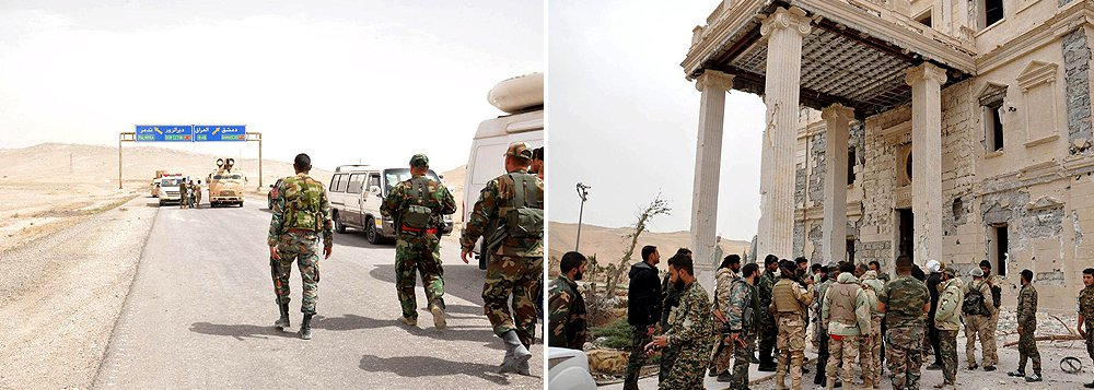"""O Exército sírio recuperou hoje (27) o controlo total de Palmira, cidade que esteve tomada pelos extremistas do Estado Islâmico durante mais de um ano, segundo uma fonte militar; """"Após combates noturnos violentos, o Exército controla totalmente a cidade de Palmira, incluindo a parte antiga e a parte residencial. Eles [os 'jihadistas'] retiraram-se"""", disse a mesma fonte; atomada de Palmira é o desfecho de uma ofensiva que o exército lançou no início do mês, com o apoio da Força Aérea russa"""