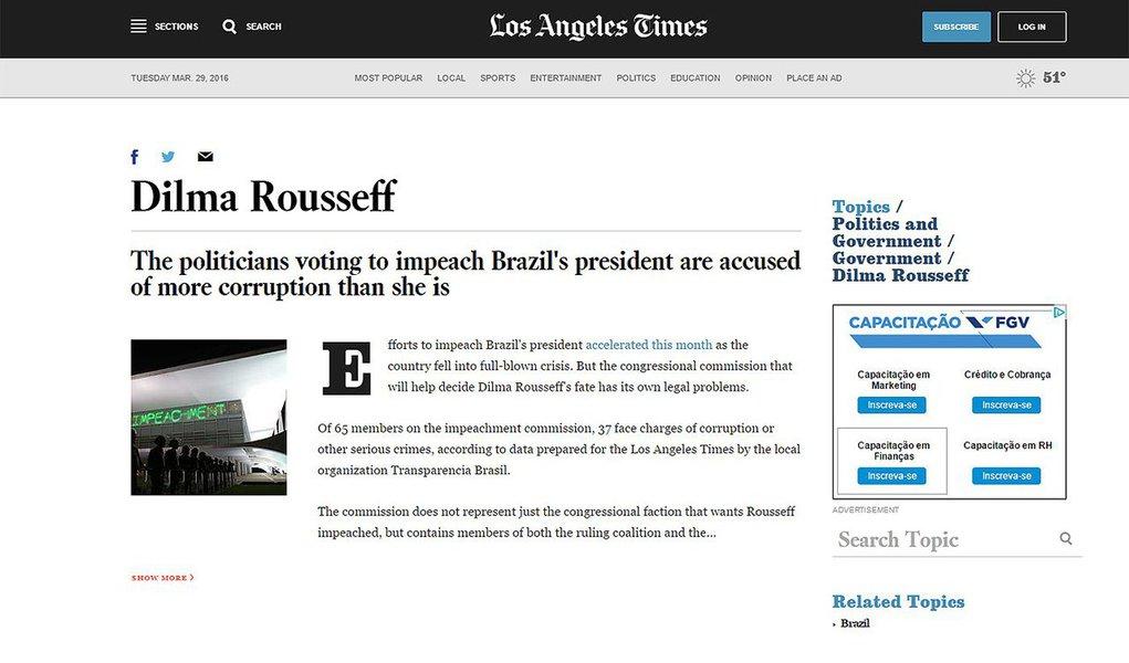 """Na reportagem, assinada por Vicent Bevins, o jornal lembra que dos 65 membros da comissão de impeachment, 37 enfrentam acusações de corrupção ou outros crimes graves, """"de acordo com dados preparados para o Los Angeles Times pela organização local Transparência Brasil""""; """"Rousseff, por outro lado, nunca foi formalmente investigada ou acusada de corrupção, embora esteja altamente impopular e politicamente responsabilizada pela recessão profunda no país"""", diz o jornal"""