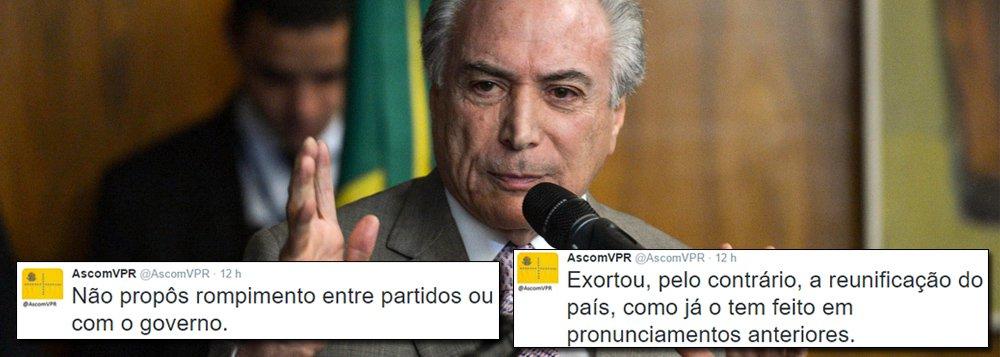 """Por meio de sua conta no Twitter, a vice-presidência criticou a divulgação da carta de Michel Temer à presidente Dilma Rousseff, e nega que Temer tenha pragado o rompimento com o governo; """"Não propôs rompimento entre partidos ou com o governo"""", diz; """"Exortou, pelo contrário, a reunificação do país, como já o tem feito em pronunciamentos anteriores. E manterá a discussão pessoal privada no campo privado"""", completa"""