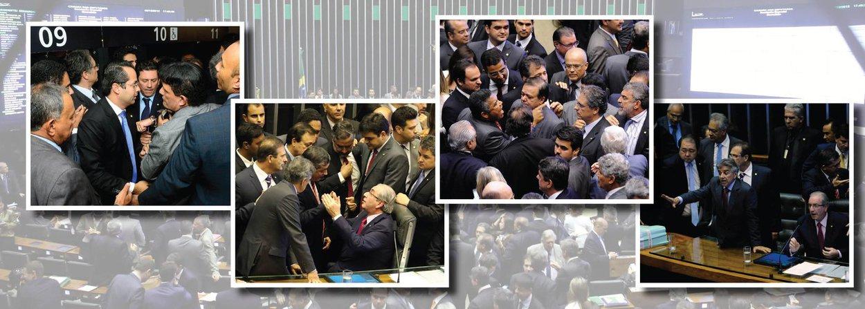"""Manobra do presidente da Câmara e de seus aliados no golpe avacalha de vez o parlamento; decisão de Eduardo Cunha (PMDB-RJ) de impor votação secreta para definir os integrantes da comissão de impeachment e de não permitir questões de ordem termina em cenas de briga de rua no plenário da Casa; urnas foram quebradas; circo criado por Cunha terminará no STF; o PCdoB entrou com duas ações contra a votação secreta e contra a criação de uma segunda chapa; segundo a líder do partido, deputada Jandira Feghali (RJ), isso é ilegal; governistas gritam """"não vai ter golpe"""", e oposicionistas rebatem: """"vai ter impeachment""""; Cunha, que tenta solapar a democracia, já conseguiu destruir a Câmara em sua breve gestão"""