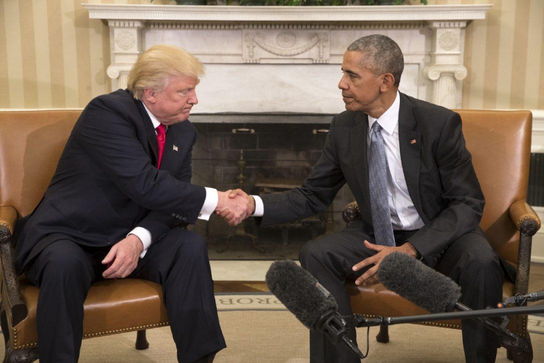 """""""Foi uma grande honra estar com você e estou ansioso para estar com você muitas, muitas mais vezes no futuro"""", disse Trump, com um tom de deferência;""""Agora vamos querer fazer tudo o que pudermos para ajudá-lo a ter sucesso, porque se você tiver sucesso, o país terá sucesso"""", disse Obama no final da reunião"""