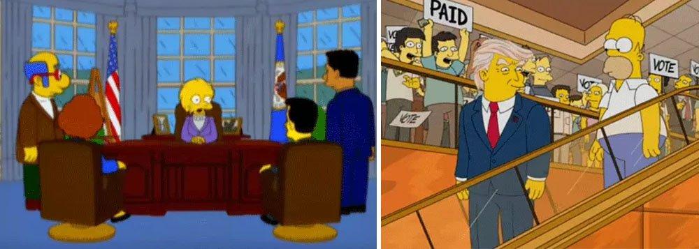"""Episódio exibido em março de 2000 da série The Simpsons mostrou o empresário norte-americano Donald Trump como presidente dos EUA; no episódio """"Bart to The Future"""", a personagem Lisa Simpson se torna presidente dos EUA após o mandato de Trump e diz que """"herdou uma grande dívida"""" e que """"o país estava quebrado""""; """"Parecia lógico que essa seria a última parada antes de atingir o fundo do poço. Foi colocado no episódio porque combinava com a visão de que os EUA estavam ficando loucos"""", afirmou o roteirista da história Dan Greaney, em março deste ano"""