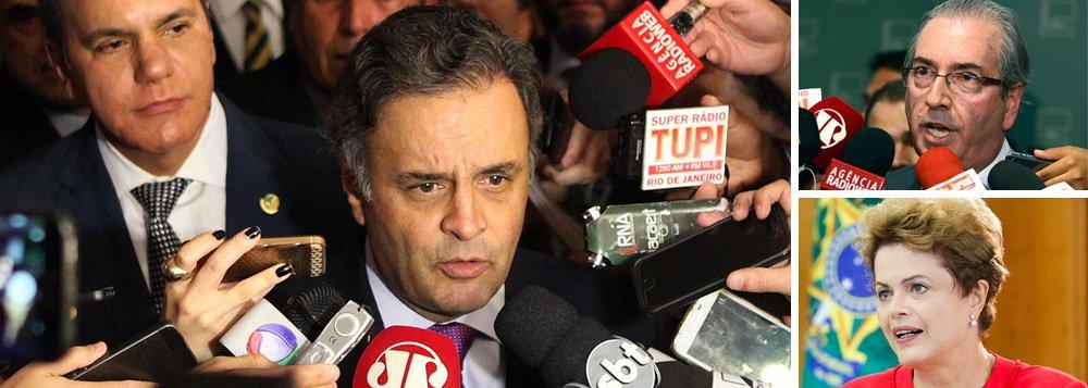 """O presidente do PSDB, senador Aécio Neves, elogiou a decisão do presidente da Câmara, Eduardo Cunha (PMDB), de acatar o pedido de abertura do processo de impeachment contra a presidente Dilma Rousseff; """"O presidente da Câmara dos Deputados tomou uma decisão que lhe cabia. Uma decisão ancorada naquilo que prevê a Constituição. A peça produzida pelos juristas Miguel Reali e Hélio Bicudo é uma peça extremamente consistente"""", disse; segundo o tucano, """"qualquer saída para este impasse em que a irresponsabilidade do governo do PT mergulhou o país, se dará dentro daquilo que a Constituição determina""""; """"O que posso dizer é que há um sentimento na sociedade brasileira para iniciarmos um novo momento no Brasil"""", completou"""