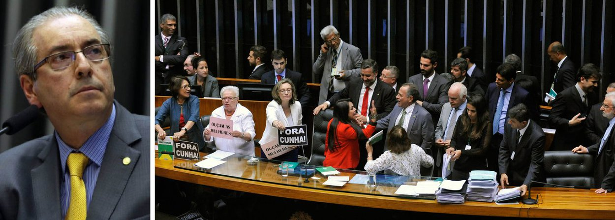 Deputadas federais de partidos de esquerda se revoltaram contra mais uma manobra do presidente da Câmara, Eduardo Cunha (PMDB-RJ) e ocuparam a Mesa Diretora, levando assim à suspensão da sessão da noite desta quarta (27); a confusão iniciou quando Cunha decidiu manter a votação do projeto que cria comissões na Casa, contrariando manifestação dos deputados em plenário, majoritariamente contrária; parlamentares se revoltaram e subiram à mesa do plenário; Moema Gramacho (PT-BA) e Luiza Erundina (PSOL-SP), entre outras, permaneceram todo o tempo ao lado de Cunha, na mesa, protestando contra a decisão; acuado, ele deixou o plenário