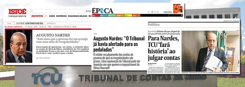 """Por mais que negue, o ministro Augusto Nardes, do TCU, não fez outra coisa nos últimos meses, a não ser conceder entrevistas sobre o julgamento do caso sobre as chamadas 'pedaladas fiscais'; em 30 de abril de 2015, quando o governo nem tinha apresentado sua defesa, ele afirmou """"estar claro"""" o que chamou de """"arranjo com uma série de ilegalidades"""", em entrevista à revista Istoé; em julho de 2015, falando à Época, repetiu a tese; mais recentemente, ao Valor, disse que o TCU """"fará história""""; no entanto, a Lei Orgânica da Magistratura veda expressamente que ministros e juízos antecipem seus votos pela imprensa; Nardes, no entanto, preferiu o pacto com a mídia, que até o lançou à presidência, numa coluna de Ricardo Noblat, em que ele foi chamado de 'ministro desassombrado'"""