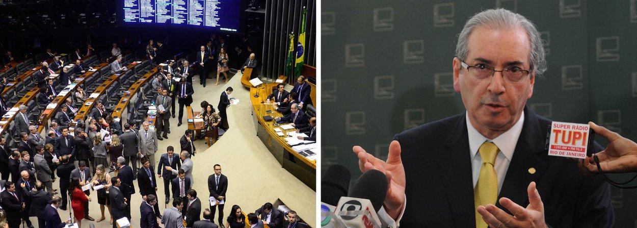 """O presidente da Câmara, Eduardo Cunha (PMDB-RJ) foi alvo de protesto nesta quarta (21) no Salão Verde; aos gritos de """"fora, Cunha"""" e """"Vá para a Suíça"""", os manifestantes, com máscaras de papel com a foto do parlamentar, pediram sua saída da presidência da Casa; o protesto ocorreu pouco antes de Cunha ser homenageado pelo PMDB, que o incluiu na galeria de ex-líderes, com a participação de parlamentares do Psol, PT e PR; durante o protesto, Cunha ficou em silêncio; posteriormente, disse que a manifestação """"faz parte do ambiente democrático"""""""