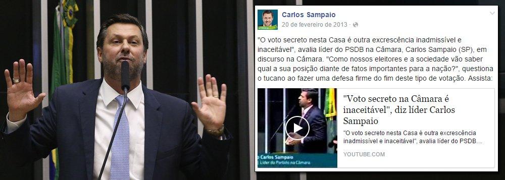 """Deputado Carlos Sampaio (SP), líder do PSDB na Câmara,subiu à tribuna da Câmara em 2013 para classificar como """"excrescência inadmissível e inaceitável"""" a prática do voto secreto nas sessões da Casa; """"Como nossos eleitores vão saber qual é a sua posição de fatos importantes para a nação?"""", questionou à época; nesta semana, Sampaio foi um dos articuladores da chapa alternativa para a comissão do impeachment contra a presidente Dilma Rousseff, eleita em voto secreto"""