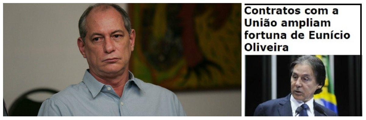 """Eventual candidato à presidência da República pelo PDT, o ex-ministro Ciro Gomes (CE) afirmou que, se o senador Eunício Oliveira (PMDB-CE) se eleger presidente do Senado será """"uma prova de que há uma maioria de corruptos dominando o Brasil""""; o comentário foi feito após as denúncias sobre a fortuna do peemedebista;o segundo senador mais rico no exercício do cargo, com um patrimônio declarado de R$ 99 milhões em 2014; o parlamentar também foi citado nas delações da Lava Jato por dois executivos de diferentes empresas"""