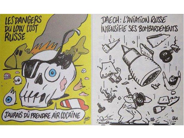 Quando caiu um avião russo, com mais de 200 pessoas, na Península do Sinai, os chargistas franceses fizeram graça;graça também fizeram dos refugiados sírios que corriam pra lá com medo dos barbudos malvados; qual é a graça agora? teremos charges ou só orações?