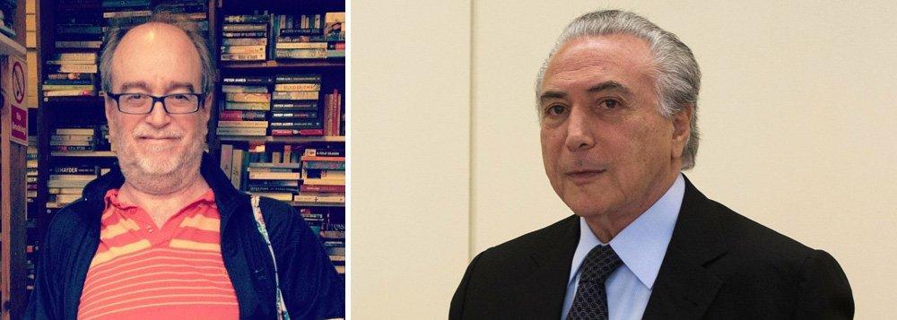 """""""Algumas pessoas lembraram a carta de Getúlio aos brasileiros, antes de se matar, e aí você vê dois extremos. A carta de GV o engrandeceu para a posteridade, e a de Temer é um documento que mostra quanto minúsculo ele é"""", diz o jornalista Paulo Nogueira, editor do Diário do Centro do Mundo; """"Um sujeito que conspira, trai, envenena, alimenta os inimigos de Dilma, esse sujeito se coloca como vítima""""; segundo ele, com a carta, Temer assumiu estar ao lado de Eduardo Cunha"""