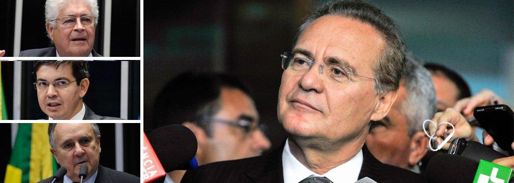 """Documento subscrito pelos senadoresJoão Capiberibe (PSB-AP), Cristovam Buarque (PDT-DF), Lídice da Matta (PSB-BA), Randolfe Rodrigues (Rede-AP), Paulo Paim (PT-RS), Walter Pinheiro (sem partido-BA) e Roberto Requião (PMDB-PR) pedirá ao presidente do Senado, Renan Calheiros (PMDB-AL) que suspenda o processo de impeachment contra Dilma Rousseff, até que a Câmara aprecie o pedido de autorização para processar o vice-presidente Michel Temer; grupo argumenta que Dilma e Temer são implicados nos mesmos fatos, não tendo justificativa para julgar o da presidente e procrastinar o do vice; não juntá-los é criar um """"diferencial e uma suspeita"""" no procedimento; tese de que não pode haver dois pesos e duas medidas já foi defendida também pelo ministro Marco Aurélio Mello, do Supremo Tribunal Federal"""